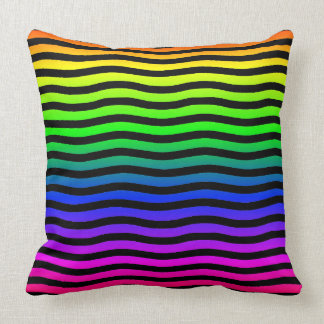 Rainbow Colored Background With Black Wavy Lines Throw Pillow