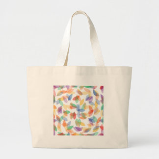 rainbow colored background with leaves tote bag