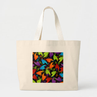 rainbow colored background with leaves canvas bags