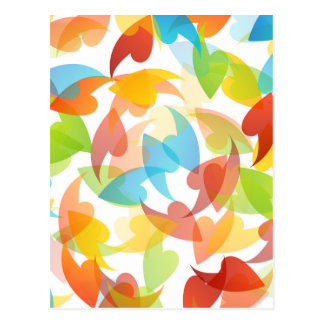 rainbow colored background with leaves postcard