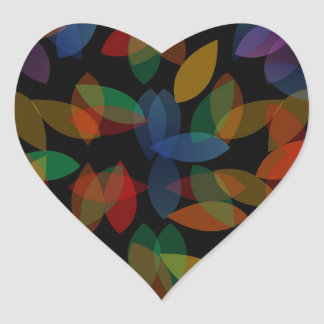rainbow colored background with leaves heart sticker