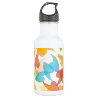 rainbow colored background with leaves water bottle