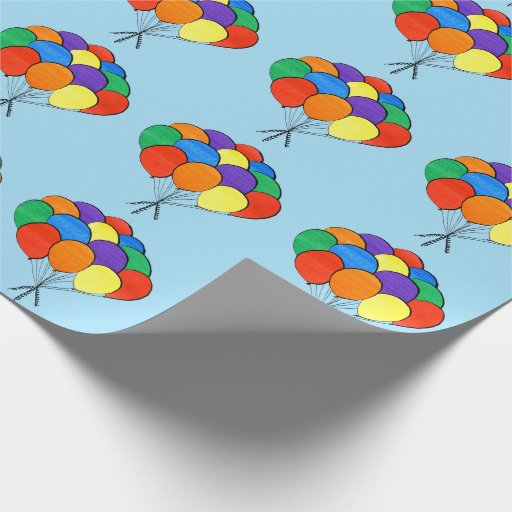 Rainbow Colored Balloon Bunches on Light Blue Wrapping Paper
