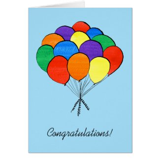 Rainbow Colored Balloons—Congratulations Card