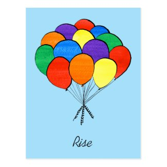 Rainbow Colored Balloons Rise postcard