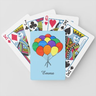 Rainbow Colored Balloons with Custom Name Bicycle Playing Cards