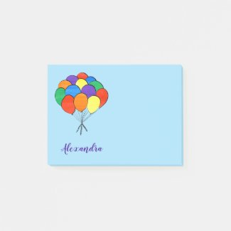 Rainbow Colored Balloons with Name Post-it Notes