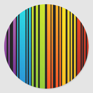 Rainbow colored bar code classic round sticker