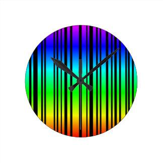 Rainbow colored bar code wall clock