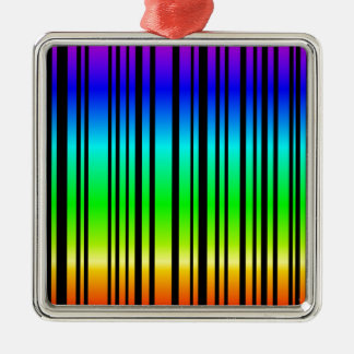 Rainbow colored bar code square metal christmas ornament