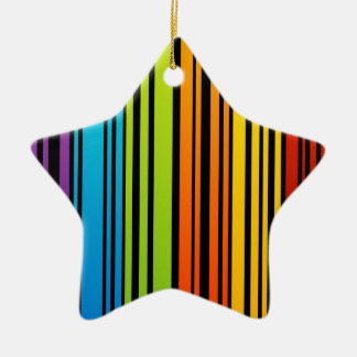 Rainbow colored bar code Double-Sided star ceramic christmas ornament