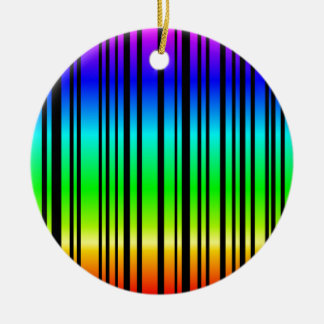Rainbow colored bar code Double-Sided ceramic round christmas ornament