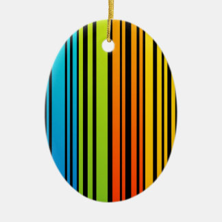Rainbow colored bar code Double-Sided oval ceramic christmas ornament