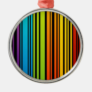 Rainbow colored bar code round metal christmas ornament