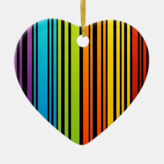 Rainbow colored bar code Double-Sided heart ceramic christmas ornament