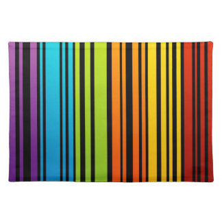 Rainbow colored bar code placemat
