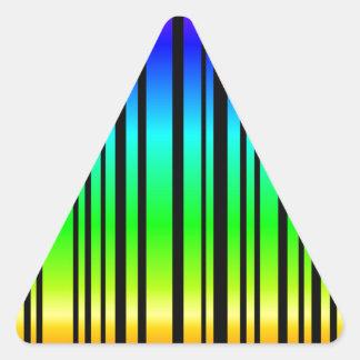 Rainbow colored bar code triangle sticker