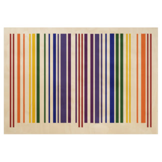 Rainbow Colored Barcode Stripes Wood Poster