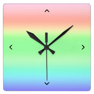 Rainbow Colored BiFrost Burning Bridge Gradient Square Wall Clock