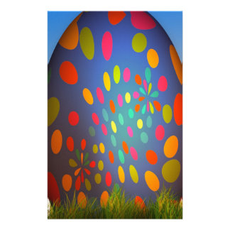 Rainbow Colored Blue Fractal Easter Egg Stationery