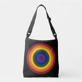 Rainbow Colored Bullseye Design on Black Crossbody Bag
