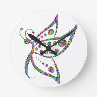Rainbow Colored Butterfly Prismatic Art Round Clock
