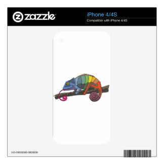 Rainbow Colored Chameleon Resting on Tree Branch Decal For iPhone 4