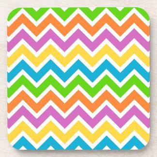 rainbow colored chevron zigzag pattern design drink coaster