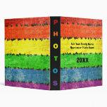 Rainbow Colored Crayon Drawing Style Photo Album Binder