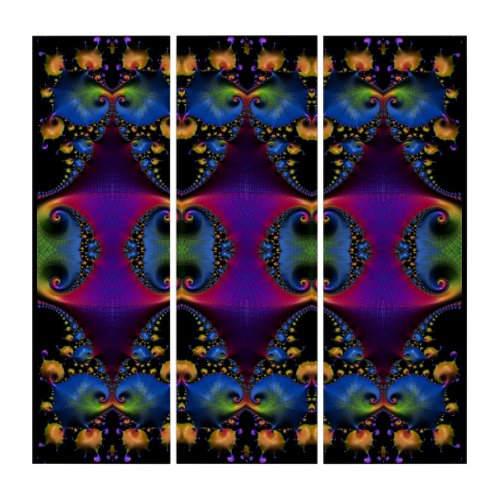 Rainbow Colored Deep Space Clams Fractal Abstract Triptych