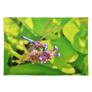 Rainbow colored Dragonfly on a purple pink flower Place Mat
