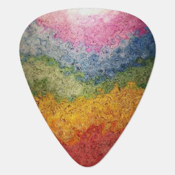 Rainbow Colored Energy Flow Stripes Guitar Pick by EatGreenFood at Zazzle