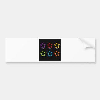 Rainbow colored floral design element bumper sticker