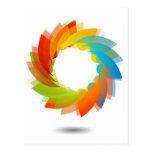 Rainbow colored floral design element postcard