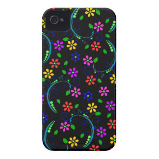 Rainbow-Colored Floral Design on Black Phone Cover Case-Mate iPhone 4 Case