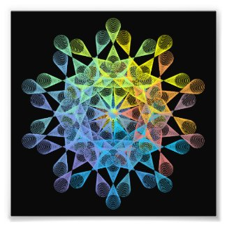 Rainbow-colored geometric figure of epitrochoid photo print