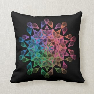 Rainbow-colored geometric figure of epitrochoid throw pillow