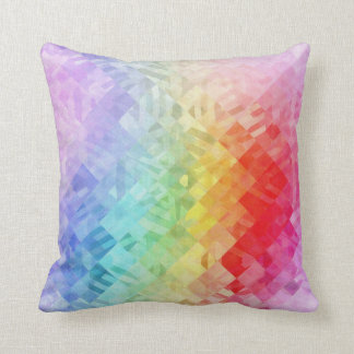 Rainbow Colored Geometric Pattern Throw Pillow