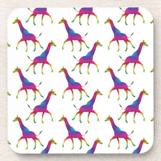 Rainbow Colored Giraffe Drink Coaster
