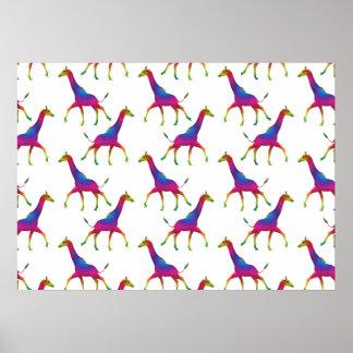 Rainbow Colored Giraffe Poster