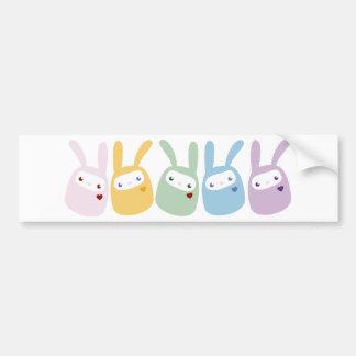Rainbow Colored Gumdrop Bunnies Car Bumper Sticker