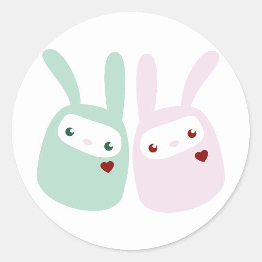 Rainbow Colored Gumdrop Bunnies Classic Round Sticker