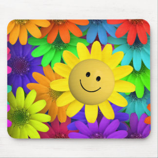 Rainbow Colored Happy Face Flowers Mouse Pad