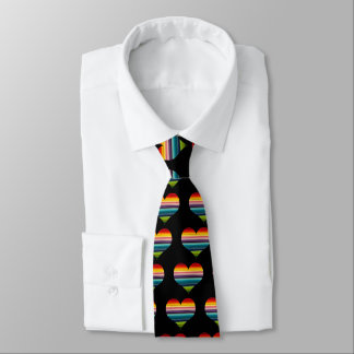 Rainbow Colored Heart Design Multicolor Stripes Neck Tie