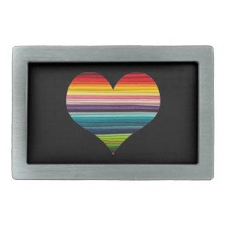 Rainbow Colored Heart Design Multicolor Stripes Rectangular Belt Buckle
