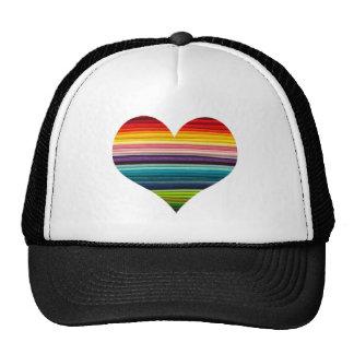 Rainbow Colored Heart Design Multicolor Stripes Trucker Hat