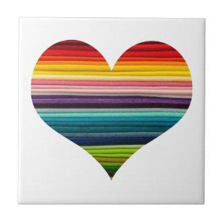 Rainbow Colored Heart Striped Ceramic Tile