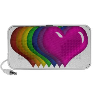 Rainbow Colored Hearts Doodle Mini Speaker doodle