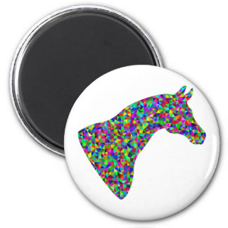 Rainbow Colored Horse Head Prismatic Art Magnet