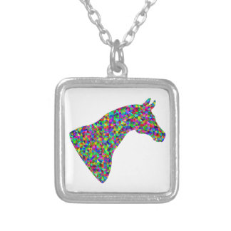 Rainbow Colored Horse Head Prismatic Art Silver Plated Necklace
